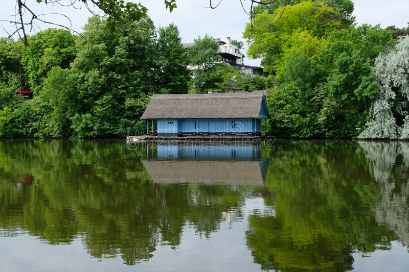 Blue house symmetry royalty free stock images