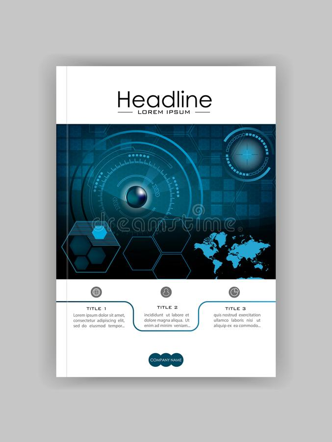 Blue A4 HUD Business Book Cover Design Template. Good for Portfolio, Brochure, Annual Report, Flyer, Magazine, Academic Journal. Blue A4 HUD Business Book Cover stock illustration