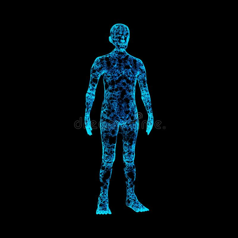 Blue human body isolated on black background. Artificial intelligence high-tech in digital computer technology concept. royalty free illustration
