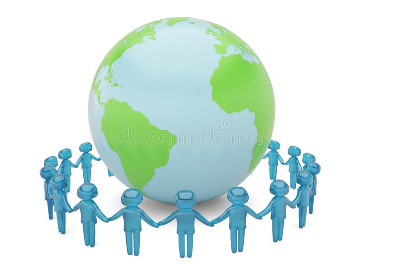 Blue human character holding hands around the globe world community concept high quality 3D illustration royalty free illustration
