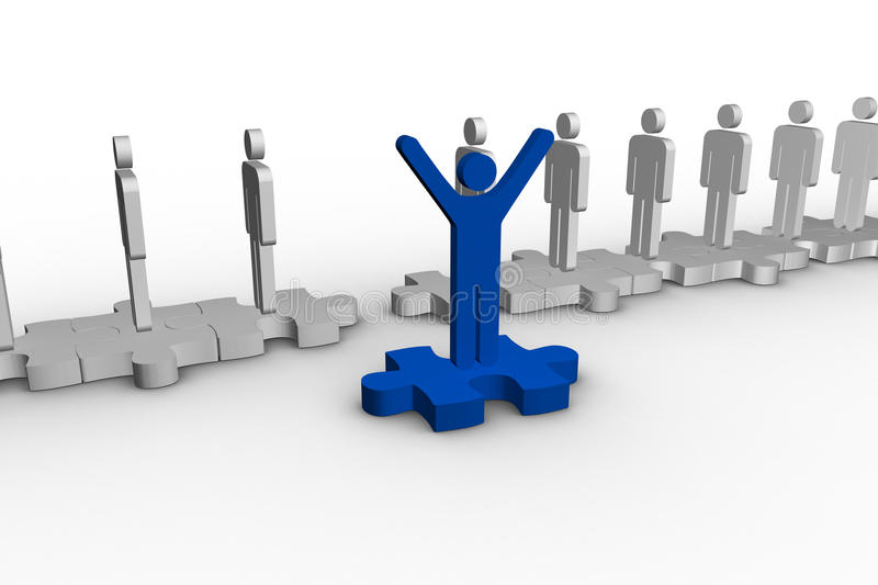 Blue Human Form Over Jigsaw Piece Raising Arms Stock Photography