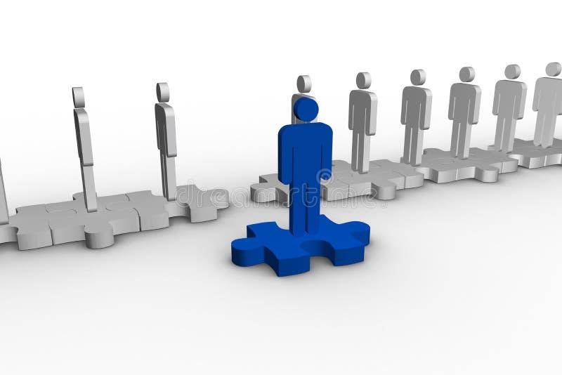 Blue human form over jigsaw piece