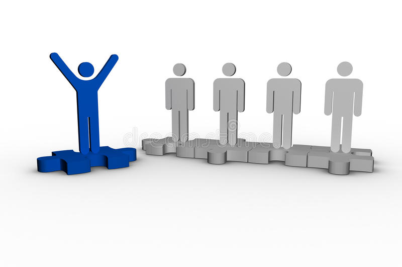 Blue human form raising arms over jigsaw piece next to other human forms. On white background royalty free illustration