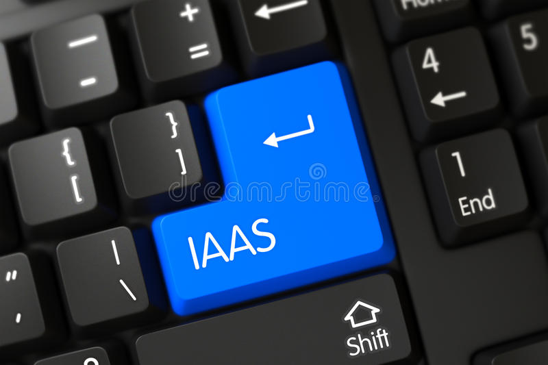 Blue IaaS Keypad on Keyboard. 3D. IaaS Concept: Computer Keyboard with Blue Enter Keypad Background, Selected Focus. 3D Illustration royalty free stock images