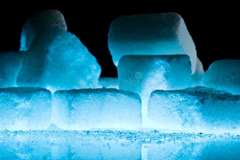 Blue ice cubes closeup stock photo
