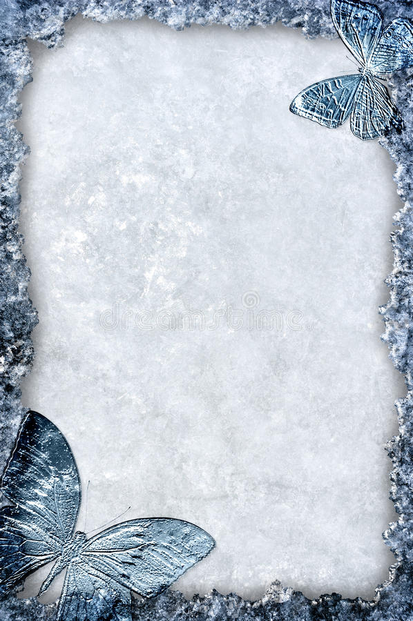 Download Blue Ice Frame With Butterflies Background Stock Illustration - Image: 22907091