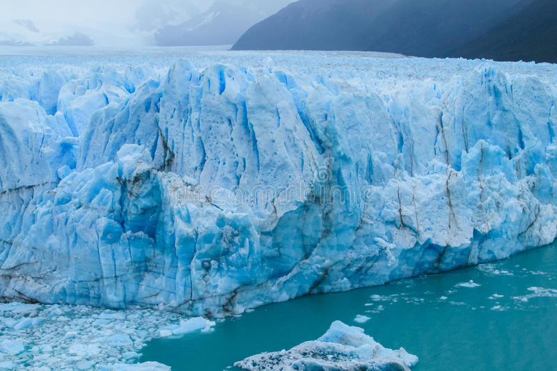 Blue ice glaciar Perito Moreno in Patagonia stock photos