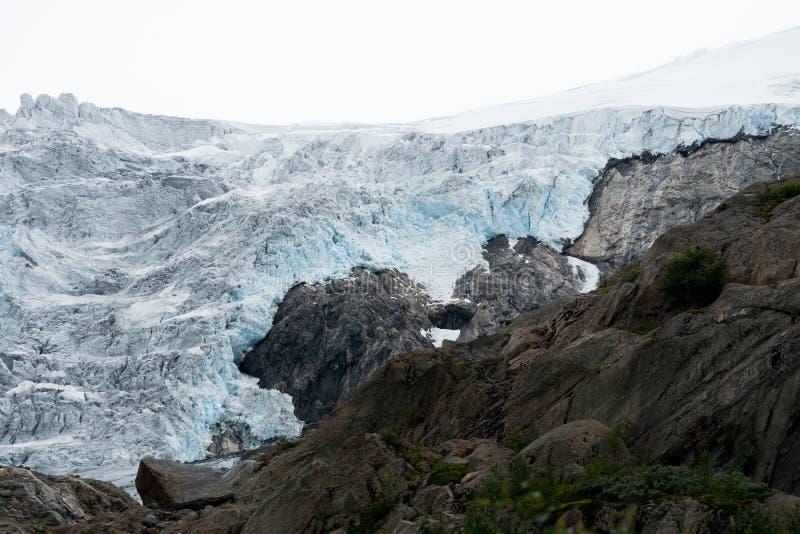 Blue ice glacier front. Buer glacier, Norway. stock photos