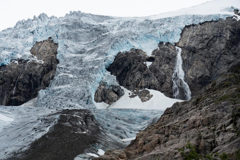 Blue ice glacier front. Buer glacier, Norway. royalty free stock photography