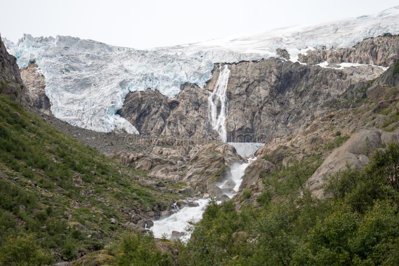 Blue ice glacier front. Buer glacier, Norway royalty free stock photo