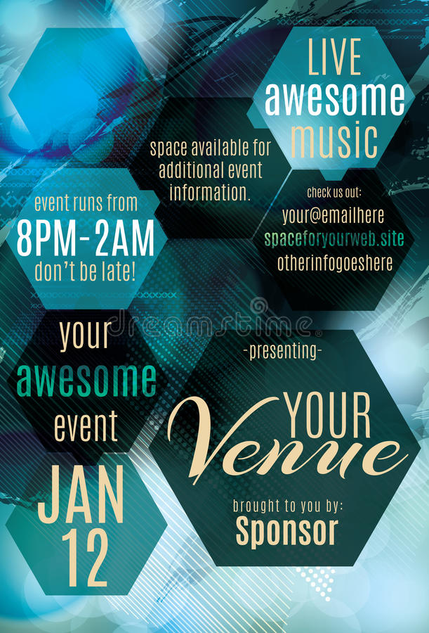 Blue Ice night club flyer template. Blue Ice polygon themed flyer for a night club event stock illustration