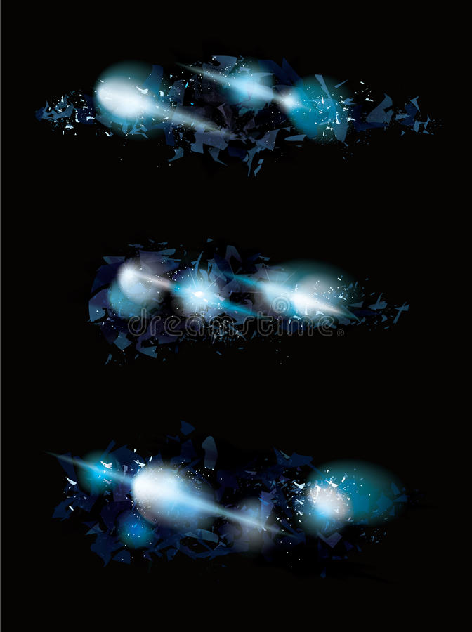 Blue ice shattered effect design set vector illustration