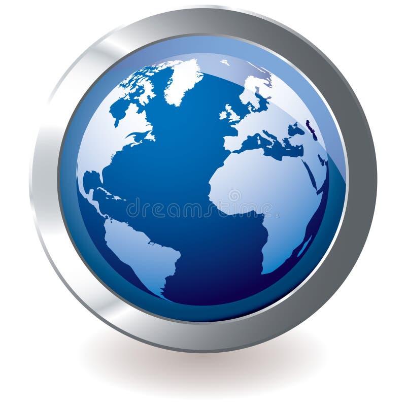 Blue icon earth globe royalty free illustration