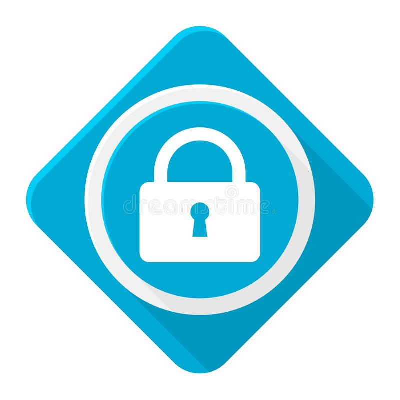 Blue icon lock with long shadow. Vector icon royalty free illustration