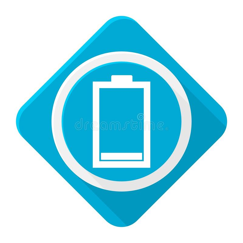 Blue icon low battery with long shadow vector illustration
