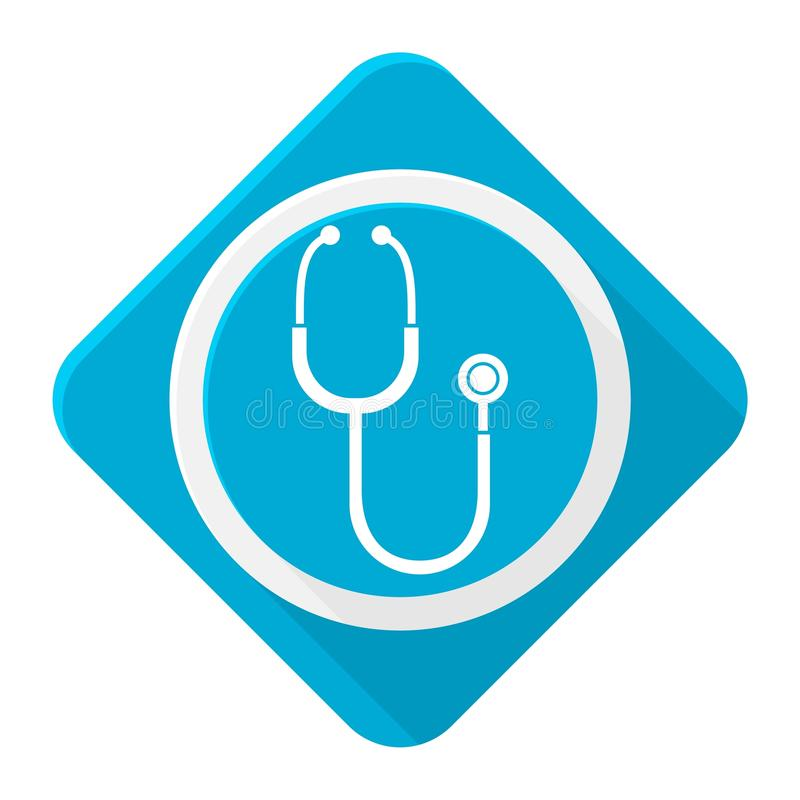 Blue icon stethoscope with long shadow stock illustration