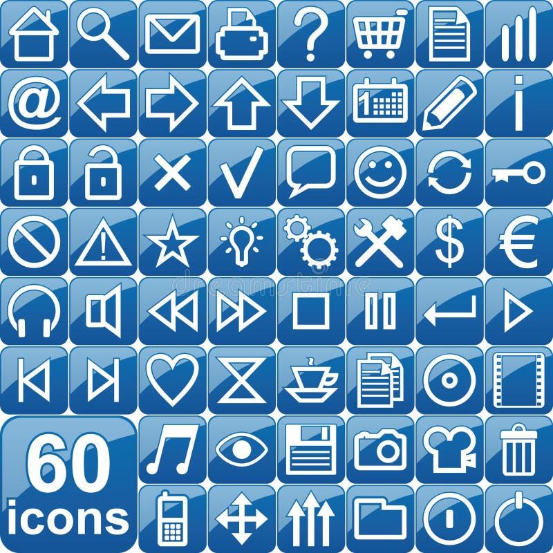 Blue icons royalty free illustration