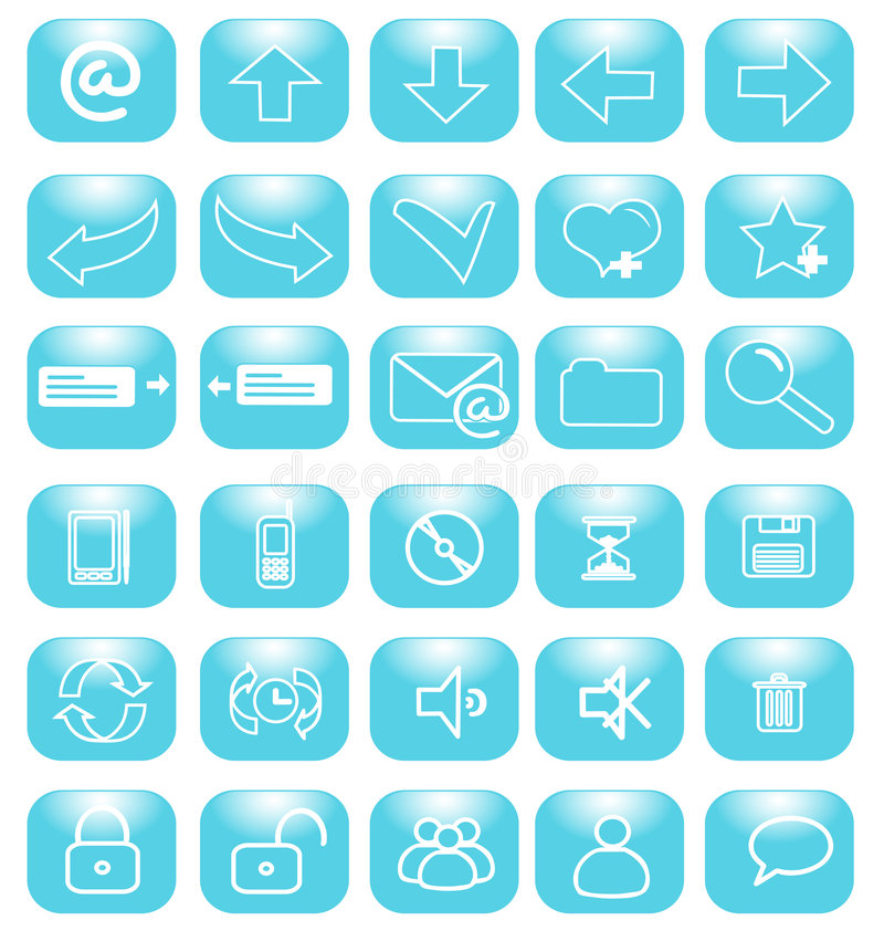Blue icons internet stock illustration