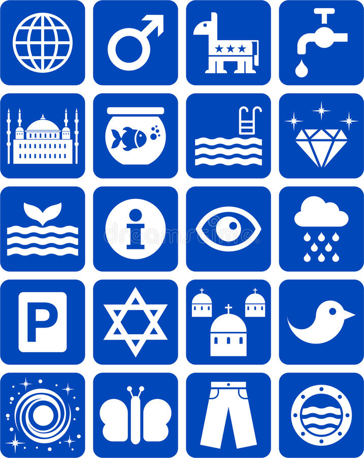 Download Blue icons stock vector. Image of icons, mosque, park - 30442637