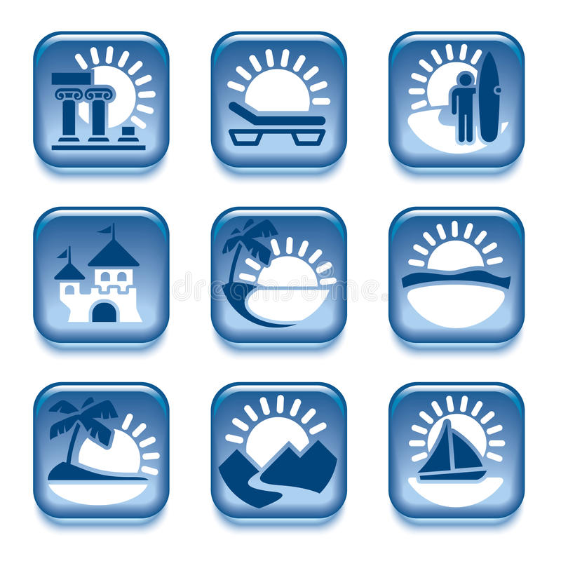 Icons Of Summer Activities Royalty Free Stock Images