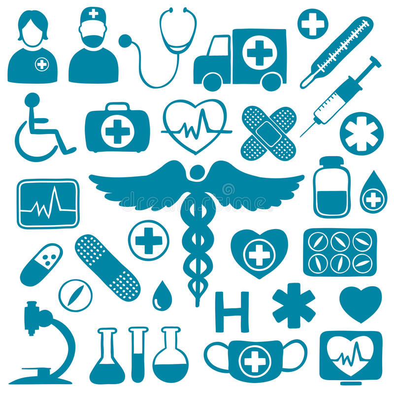 Blue Icons On White With Healthcare Symbols Stock Vector