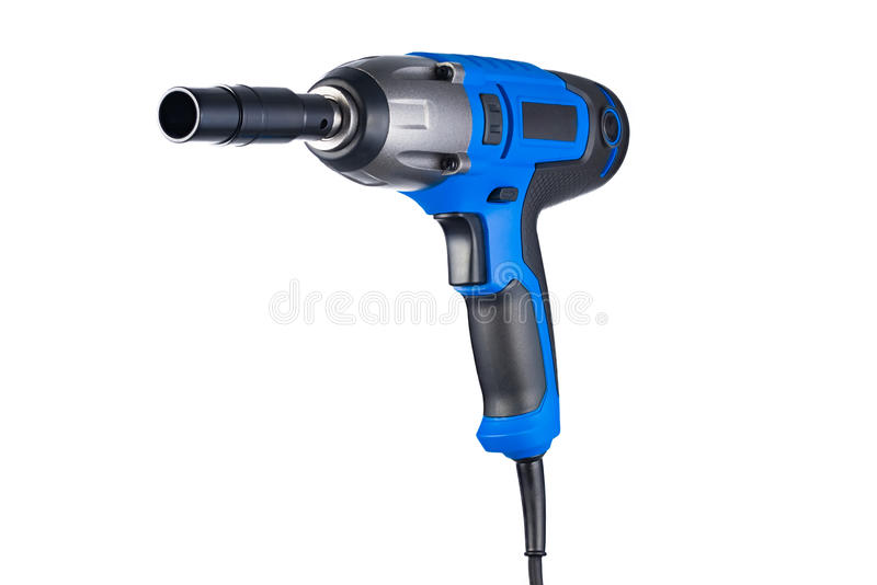 Blue impact gun with socket. Left view isolated on white background royalty free stock photos