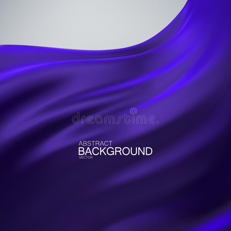 Blue indigo silk fabric. vector illustration