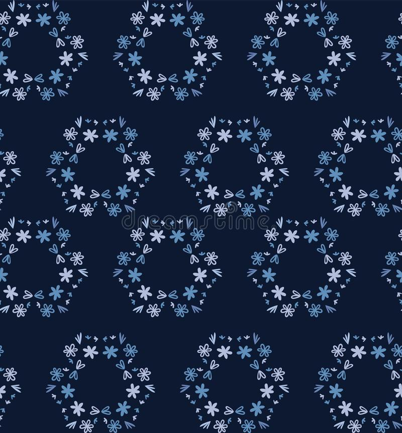 Blue indigo tiny daisy wreath seamless pattern . Dark moody dyed winter floral fabric textile. Vector ditsy vintage all over print vector illustration