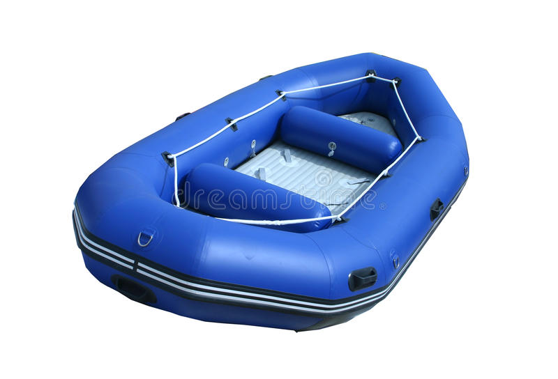Blue inflatable boat. Isolated inflatable boat on white background with path stock images
