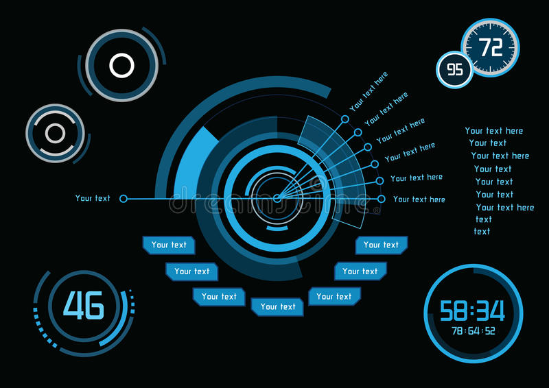Blue infographics as head-up display stock illustration