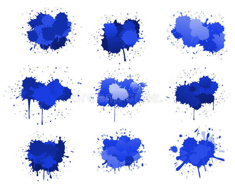 Blue ink blobs. Isolated on white for design stock illustration