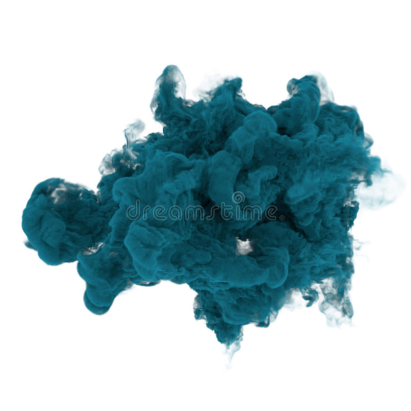 Blue ink in water on isolated white in 3D rendering. Blue ink in water on white in 3D rendering vector illustration