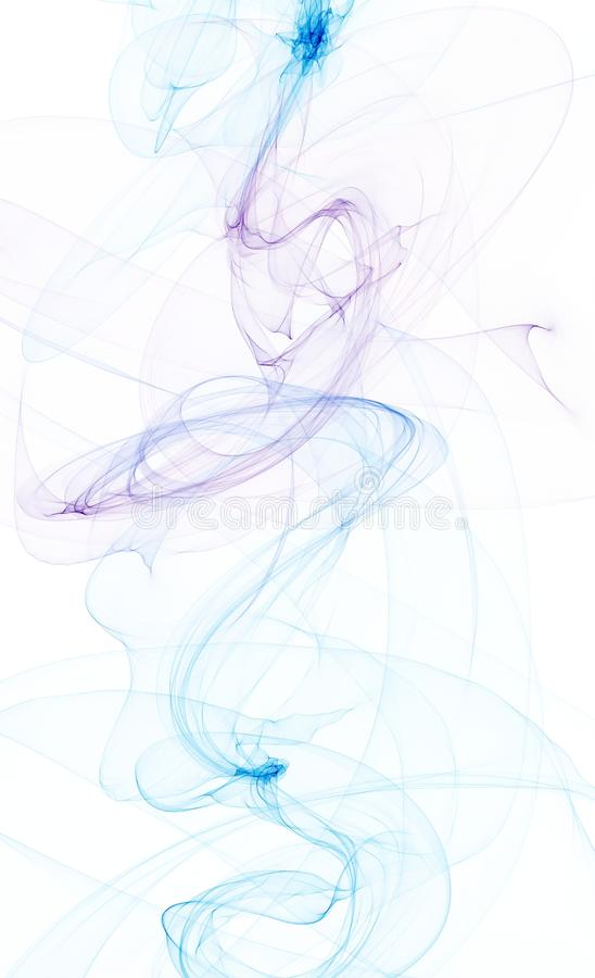 Blue ink in water. On white vector illustration