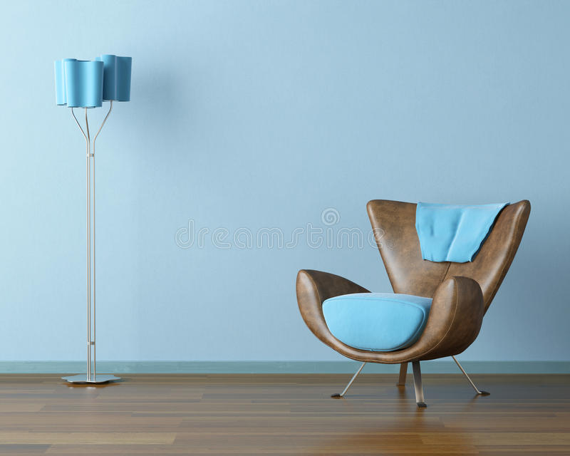 Blue interior with couch and lamp stock illustration