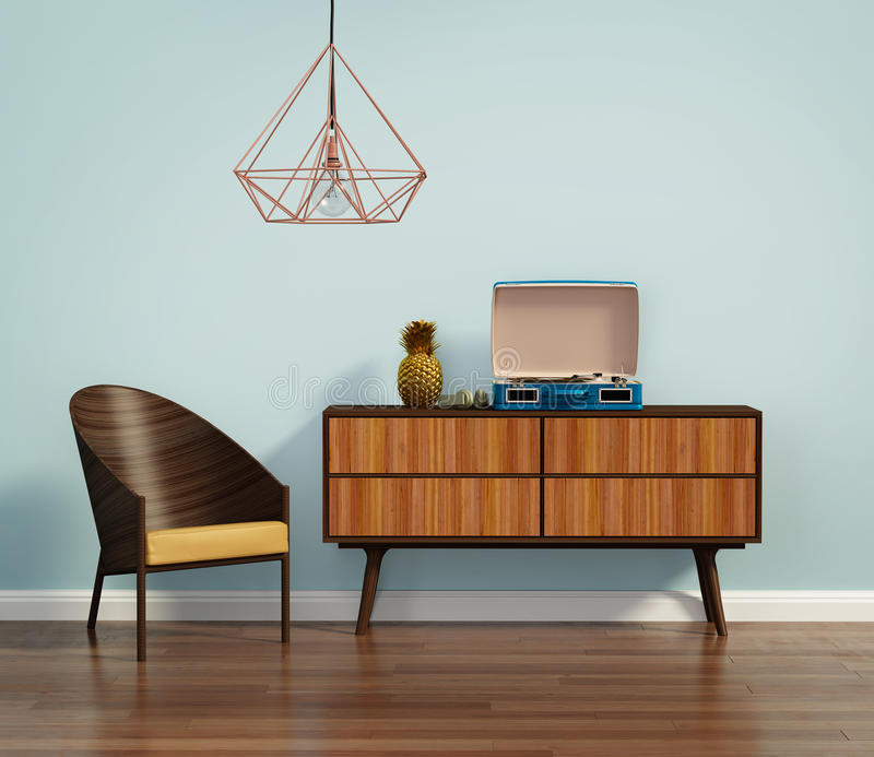 Blue interior with mid century chair and buffet stock photo