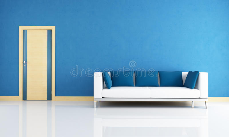 Blue interior with wooden door royalty free illustration
