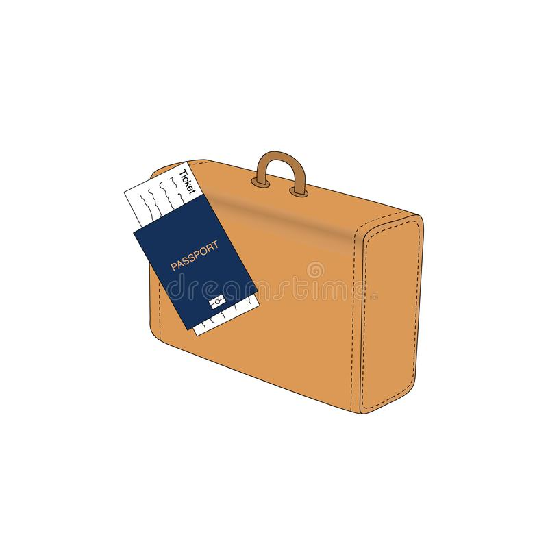 Blue international document, passport with a ticket and suitcase, travel concept, flat design vector illustration vector illustration