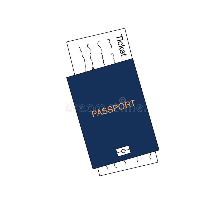 Blue international document, passport with ticket, travel concept, flat design vector illustration stock illustration