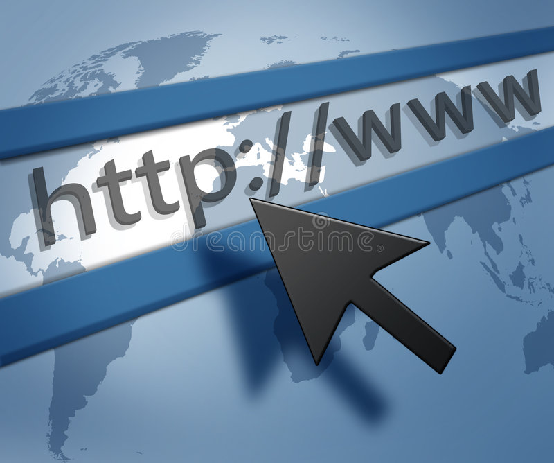 Blue Internet Background. An illustrated background with an internet address bar on a worldmap design stock illustration