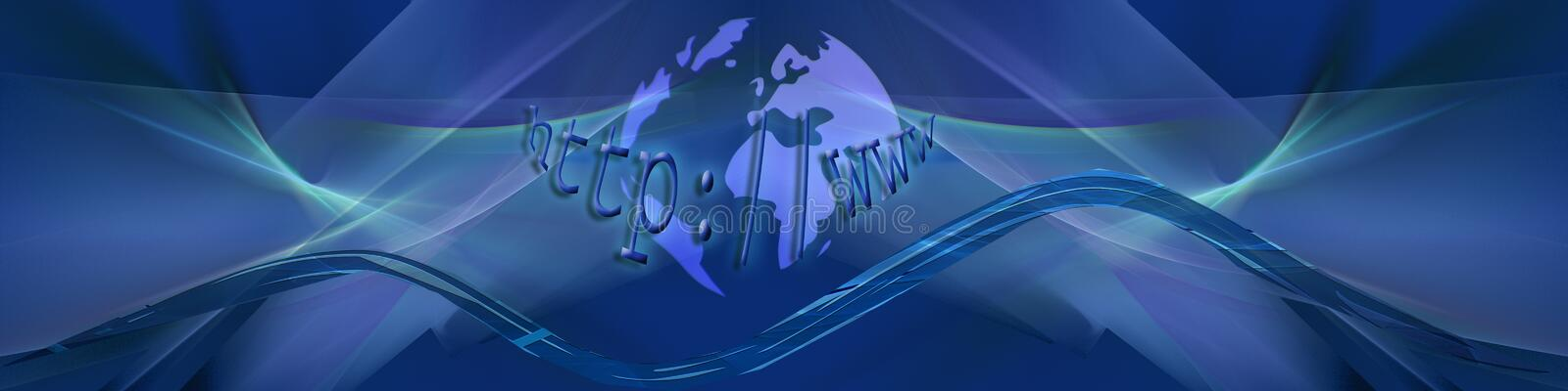 Blue Internet waves with planet. Banner / header with abstract waves in ocean colors and in the middle part our planet with text royalty free illustration