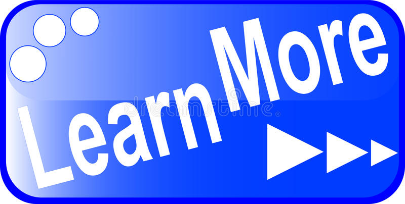 Blue internet web button LEARN MORE icon vector illustration