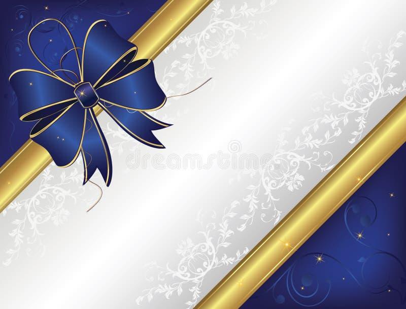Blue Wedding Invitation Background: Blue Invitation Card With A Big Ribbon Stock Vector