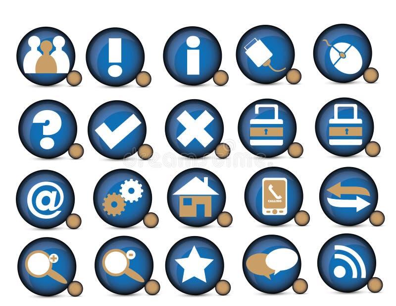 Blue ionc. Blue icon internet lock unlock vector illustration
