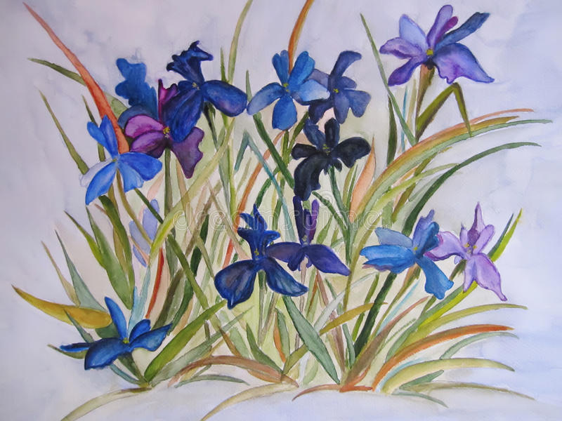 Blue Irises flowers painting on silk. Flowers art painting abstract - watercolor or painting on silk - batik. Art wall decor. Flowery background royalty free illustration