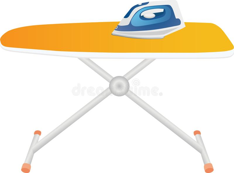 Blue iron on an orange ironing board stock photo