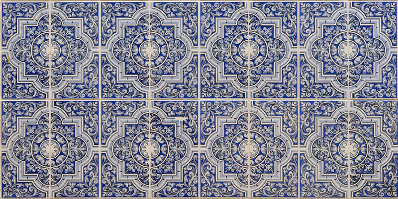 Blue Islamic patterns. Blue porcelain tiles of an Islamic pattern stock images