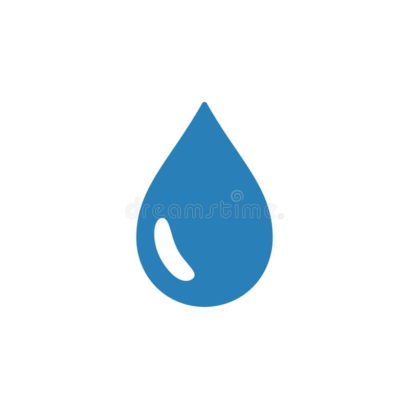 Blue isolated icon of drop of water on white background. Silhouette of aqua drop. Flat design.  stock illustration