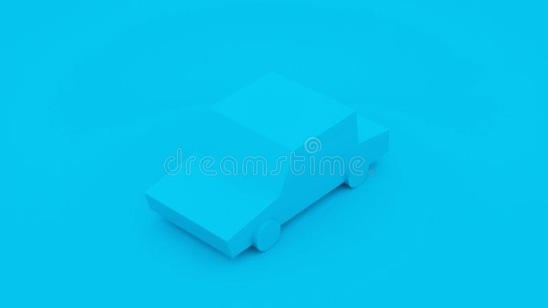 Blue, isometric low poly car. 3D illustration stock illustration