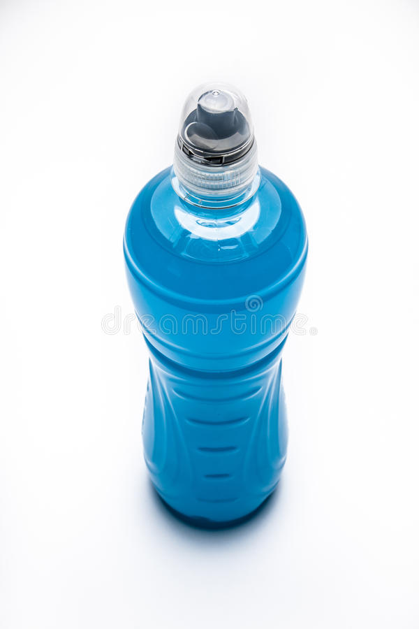 Blue isotonic drink stock images