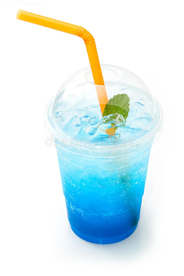 Blue italian soda in takeaway cup. Isolated on white background royalty free stock photo